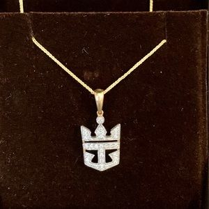 Jewelry - Royal Caribbean 14k Diamond Crown Anchor Necklace
